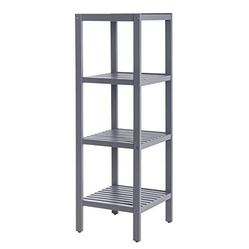 SONGMICS 100% Bamboo Bathroom Shelf Stand Rack 4-Tier Multifunctional Storage Rack Shelving Unit 38.6 x 13 x 13 Inches Gray UBCB54GY