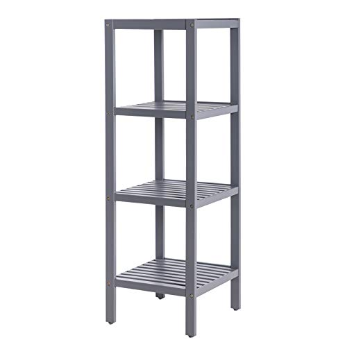 SONGMICS 100% Bamboo Bathroom Shelf Stand Rack 4-Tier Multifunctional Storage Rack Shelving Unit 38.6 x 13 x 13 Inches Gray UBCB54GY