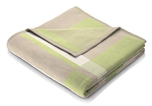 biederlack Kuscheldecke 150x200 cm I Orion Cotton-Joy Pastel I Wohndecke in grün I 60% Baumwolle, 40% dralon I Made in Germany, hellgrün, beige, Natur