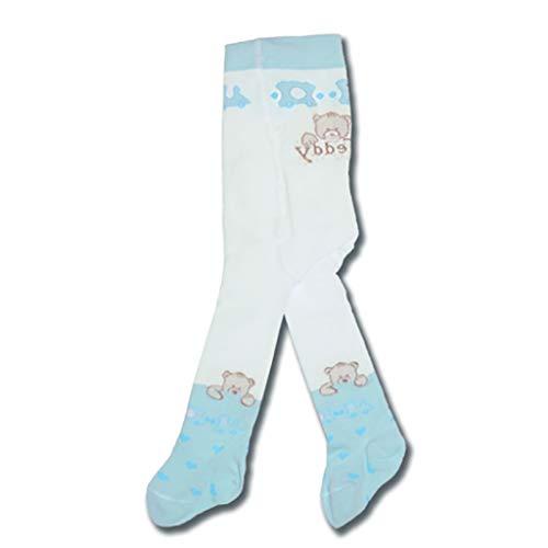 Kleines Kleid Jungen Mädchen Unisex Baby Strick-Strumpfhose mit Teddy Bär in Größe 56 62 68 74 80 86 Baumwolle * erstklassige Qualität, hergestellt in Europa * Farbe Blau, Größe 56/62