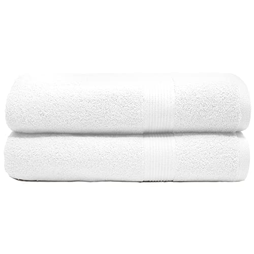 TRIDENT Fresh 2 Piece Jumbo Bath Sheet, Super Soft, Ultra-Absorbent, Fresh Feel, Easy Care, 100% Cotton Extra Large Bath Towel (White Ice)