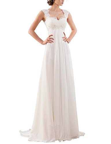 Erosebridal Ärmellos Spitze Chiffon Hochzeitskleid Brautkleid Elfenbein DE36