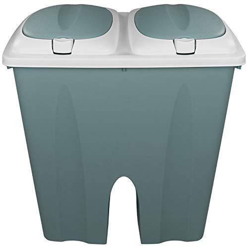 TW24 Mülleimer Duo 2x25L Pastell mit Deckel und Farbwahl Abfalleimer Müllsammler Abfallbehälter Trennsystem Müll Eimer (Grün)
