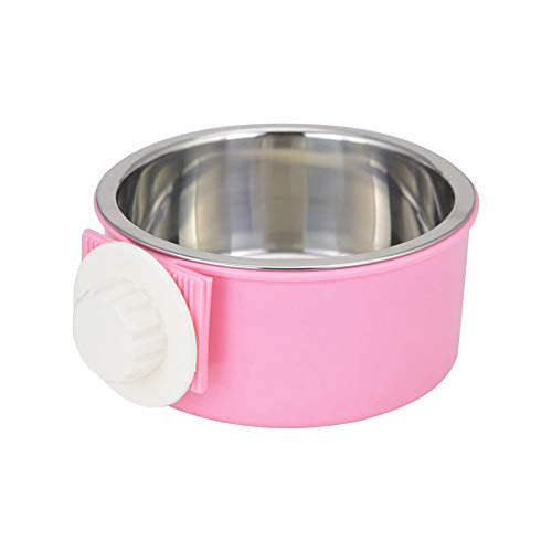 Hicollie Pet Hanging Bowl 2-in-1 Removable Stainless Steel Dog Crate Bowl Food Water Hanging Bowl for Dog Cat Bird Rabbit Hamster Ferret (Pink)