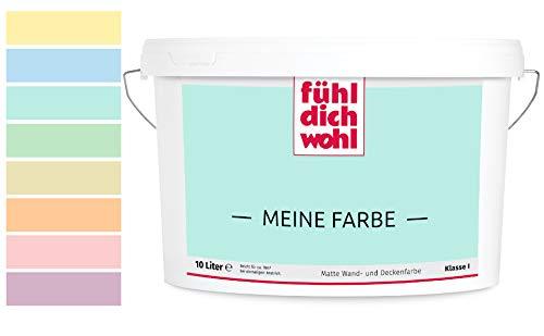 Fühl Dich Wohl Meine Farbe pastell, matte Wandfarbe pastell, hohe Deckkraft, verschiedene Pastelltöne zur Auswahl (2,5L, Pastelltürkis E12-47)