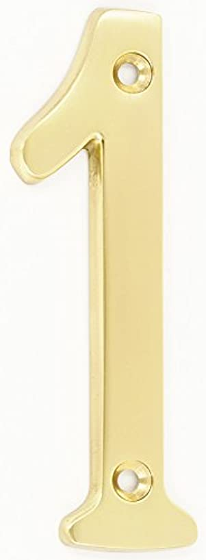 ZW Hardware A200 4 Inch Brass Bright Brass House Number 1