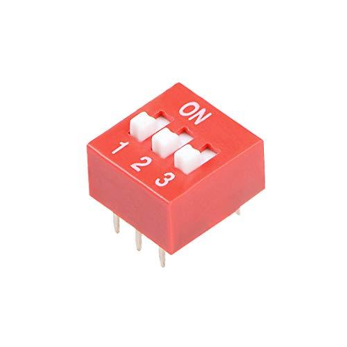 sourcing map 50 pzas Interruptor DIP rojo de doble fila 1 2 3 posiciones, paso de 2,54 mm