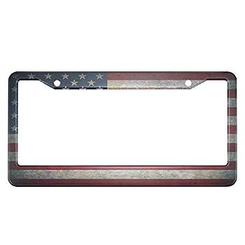 HOSNYE Vintage American Flag License Plate Frame Americana Freedom Patriot Metal License Plate Cover Front Plates Frames Car Tag Frame for Women Men US Vehicles Standard