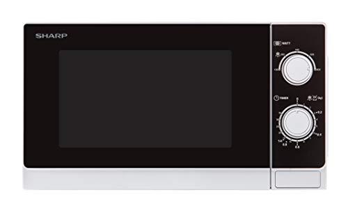Sharp R200WW Microondas 20L, Control Mecánico, 800W, Blanco