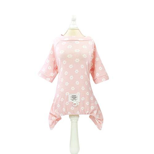 VILLCASE Daisy Flower Pet Cloth Ropa de Cuatro pies Primavera Verano Abrigo de algodn para Cachorro (Rosa, Tamao 2XL)- Suministros para Perros
