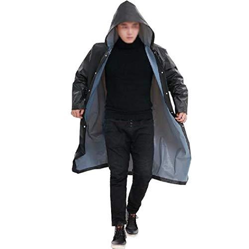 DongYuYuXuXi waterdichte regenjas voor mannen en vrouwen, ondoorlaatbare regenjas, met capuchon, dames, lange regenkleding, poncho, regenjas zwart