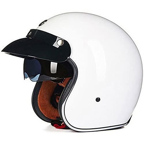 Retro Casco De Moto Abierto para Mujer e Hombre,Media Cara Casco De Protección para Motocicleta Scooter con Visera Cruiser Bike Chopper Jet Casco ECE Certificado Half Helmet I,XL=59~60CM