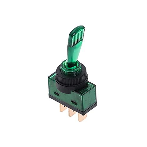 TUEWDFSA Interruptores de Palanca Interruptor de Palanca automotriz 3 Pin On-Off con la lámpara 12V 20A LED LED Componente electrónico (Color : Green)