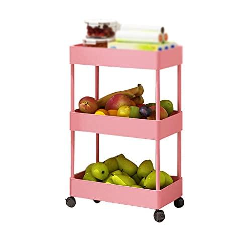 GAXQFEI Foyer Rack 3-Tier Storage Shelf Rack, Plastic Bathroom Organizer Kitchen Bedroom Laundry Room & Dressers Rolling Utility Cart for Storage,Pink,40 * 22 * 64Cm
