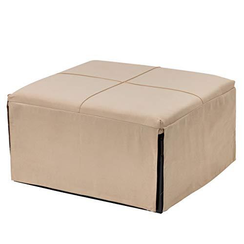 Baroni Home Pouf lit simple pliable pour chambre, chambre d'enfant, salon, maison vacances, B&B Pouf en tissu crème