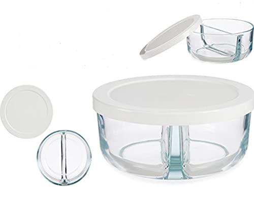 Pack de 2 Fiambrera de cristal con divisorios de 16cm