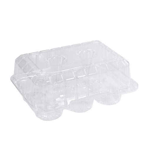 DFI Detroit Forming LBH6656 Clear Hinged Plastic Container for 6 Cupcakes/Muffins - Pack of 10