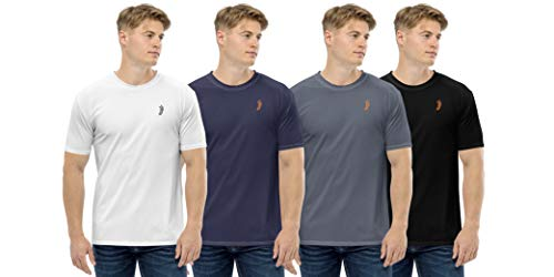 JJ TEES Mens Polyester Round Neck Tshirts (Size: XL) (Pack of 4, Combo 1)