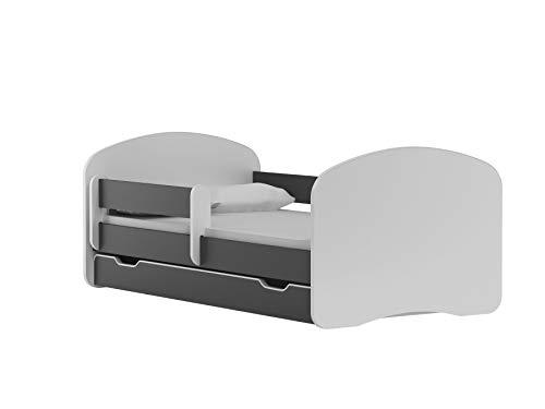 BDW - Cama infantil con 2 superficies de descanso y 2 colchones de 180 x 90 cm, color grafito, para niñas y jóvenes, cama juvenil