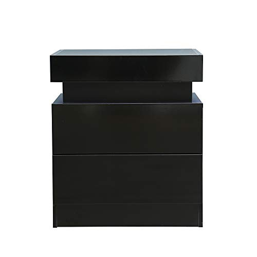 Modern LED End Table & Nightstand for Bedroom - Night Table with Built in Multi-Colour LED High Gloss Backlight - Bedside Cabinet with 2 Drawers for Living Room- Particle Board (Black)