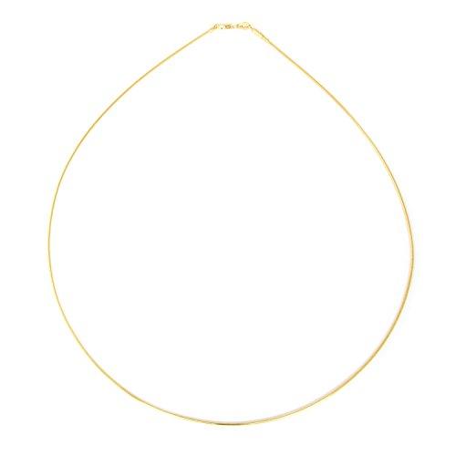 COZMOS Feine Halsreif Omegakette Collier Halskette Silberkette Kette 925 Silber Sterling 18K Goldkette Gold Kette vergoldet 1mm - 30, 35, 40, 45, 50, 55, 60cm