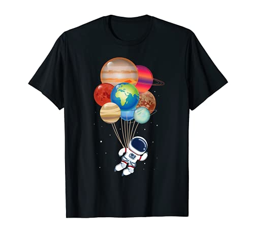 Space Man Flying Balloon Planets - Fun Outer Space Gift Maglietta