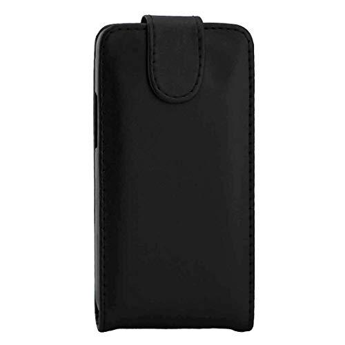 YANTAIANJANE Estuches de Cuero de teléfono For Samsung Galaxy J1 (2016) / J120 Textura Lisa Vertical Flip Funda de Cuero Bolsa de Cintura con Hebilla magnética (Color : Black)