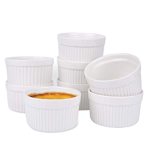 Ramekin Bowls 8OZ,WERTIOO 8 PCS Bakeware Set for Baking and Cooking, Oven Safe Sleek Porcelain Colorful Ramikins for Pudding, Creme Brulee, Custard Cups and Souffle Small instant table tray