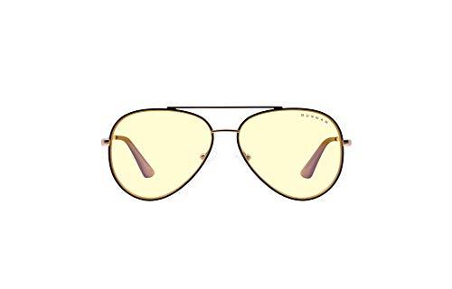 GUNNAR Gafas de juego y computadora   Maverick  Gafas de bloqueo de luz azul   Lente patentada, 65% protección de luz azul, 100% luz UV   Reduce la tensión ocular y la sequedad