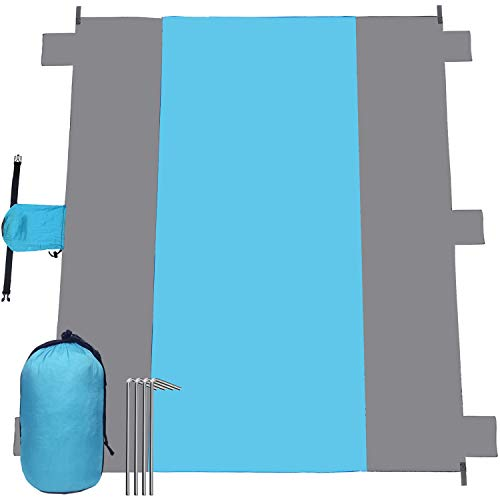 Esup Beach Blanket Sand Proof Oversized Waterproof 10'x 9' Beach Mat for 7 Adults, Lightweight Durable 210T Ripstop Nylon, Best Picnics Blanket Mat for Travel Sports Camping (Sky Blue/ Gray)