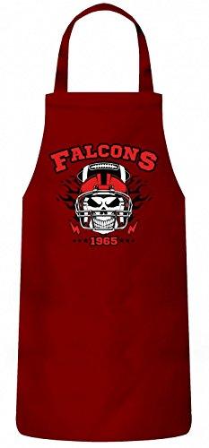 Shirt Happenz Falcons Skull Schürze | American Football | Totenkopf | Football-Helm | Kochen & Backen | Grillschürze, Farbe:Rot (Red PW102);Größe:60cm x 87cm