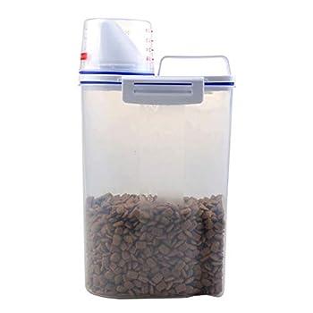 Gelentea Boîte de Conservation hermétique pour Nourriture pour Chien et Chat avec Verre doseur Transparent 2,5 l