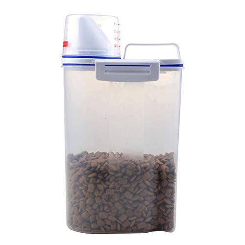 Beverl Contenedor de almacenamiento de alimentos para mascotas, hermético para perros y gatos, contenedor de alimentos con taza medidora, transparente de 2,5 l