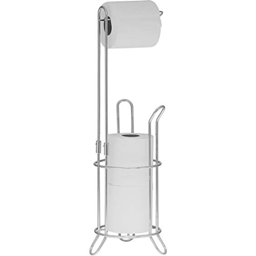 STOCK UP – Simple Houseware Bathroom Toilet Tissue Paper Roll Storage Holder Stand, Chrome Finish.