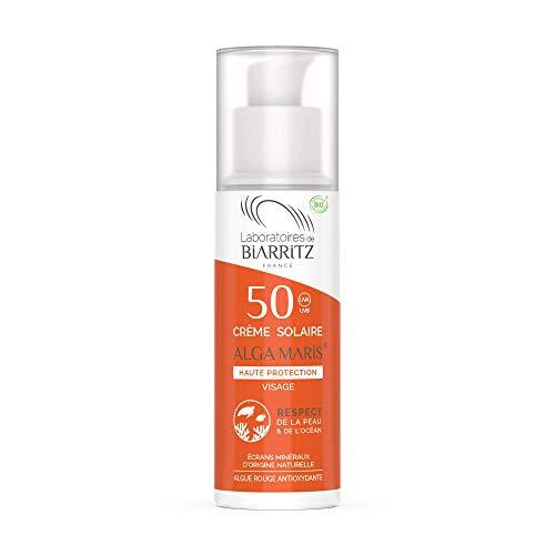 Les Laboratoires de Biarritz - Alga Maris® - Crème solaire visage SPF50 certifiée Bio - 30 ml