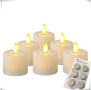 Battery Operated Flameless Fake Led Tea Lights Set of 6,Outdoor Flickering Moving Wick LED Votive Electric Candle for Seas...