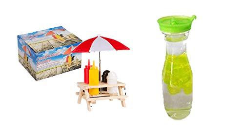 Menage Set Picknicktisch mit Schirm Salzstreuer Pfefferstreuer Senf & Ketchup Ständer Grillzubehör mit Sonnenschirm und Tisch und Bank Gartenparty Gewürz Set