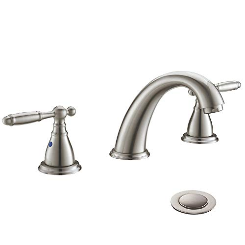 Solid Brass Brushed Nickel 2 Handle Widespread Bathroom Sink Faucet by Phiestina, Brushed Nickel 2 Handles Widespread Bathroom Faucet with Stainless Steel Pop Up Drain, WF008-4-BN