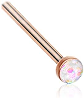 Rose Gold-Tone 316L Surgical Steel Nose Ring 2mm Simulated Faux White Opal Choose Your Style 20G