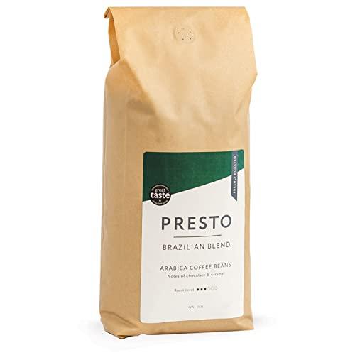 Presto brasilianischen Röstung 1KG Kaffeebohnen, mittelstark geröstet, Single Origin, großartiger Geschmack, preisgekrönte Kaffeebohnen für Ihren Kaffee am Morgen - 100 % ganze Arabica-Kaffeebohnen