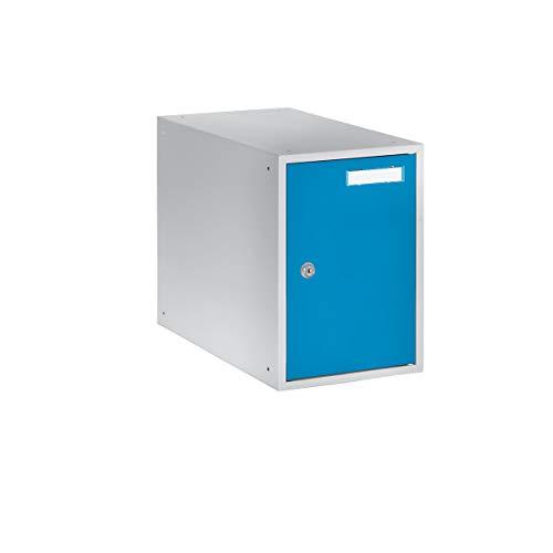 QUIPO Casier verrouillable - h x l x p 350 x 250 x 450 mm - corps gris clair - portes bleu clair - vestiaire petit modèle - casier consigne - caisson métallique effets personnels