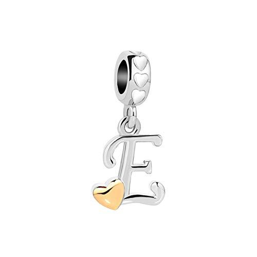 MiniJewelry Letter Initial E Charm for Bracelets Golden Heart White Heart Dangle Women Name 4.6mm fits Pandora Charms Bracelets