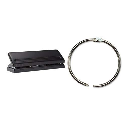 Semoic 200Pcs 25Mm Loose Leaf Binder Rings Key Rings & 1 Pcs 6 Hole Paper Adjustable Office Binding Supplies Tool