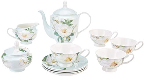 Gracie Bone China 11-Piece Tea Set, Blue White Magnolia