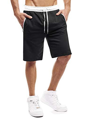 Yidarton Shorts Herren Sport Sommer Kurze Hosen Joggen und Training Shorts Fitness Jogging Hose Bermuda Reißverschlusstasch (Schwarz, M)
