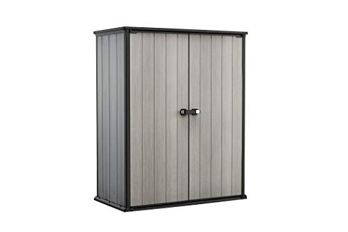 Keter High Store Plus Box Porta Attrezzi, da Esterno, Grigio, 140 W x 73.6 D x 170.4 H cm