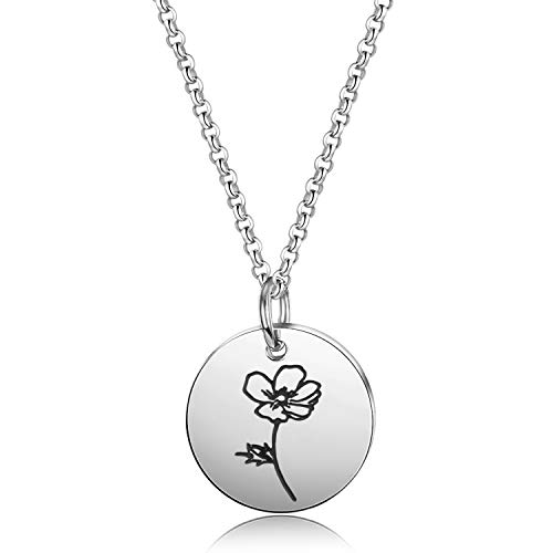 Detailed Personalized Birth Flower Necklace Birth Month Mom Necklace Birthday Gift for Her (Aug.-Poppy)