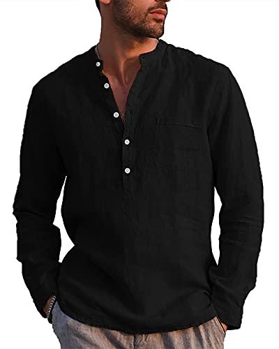 LVCBL Herren-Hemd Normal Geschnittenes Hemd mit Stehkragen Party Schwarz XL