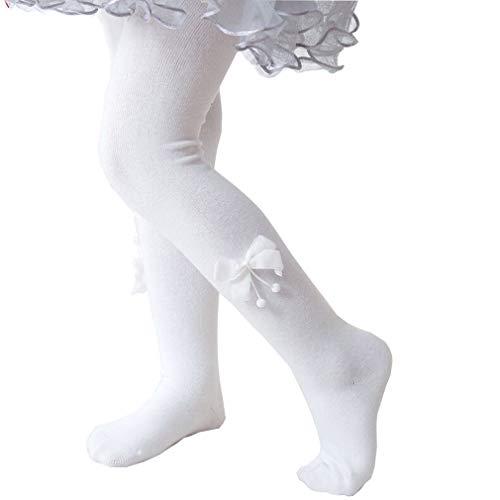 Gebreide panty babysokken panty ondoorzichtig leggings katoen winter met boog thermische panty meisjes warme broek met rok L/5-6Y/115CM wit