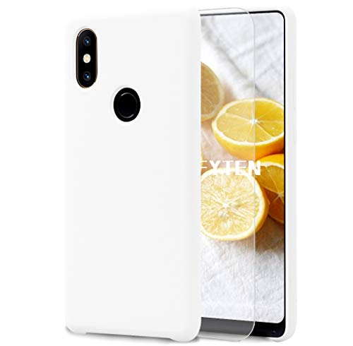 Feyten Funda para Xiaomi Mi Mix 2S [Cristal Vidrio Templado],Slim Líquido de Silicona Gel Carcasa Anti-Rasguño Protectora Caso (Blanco)